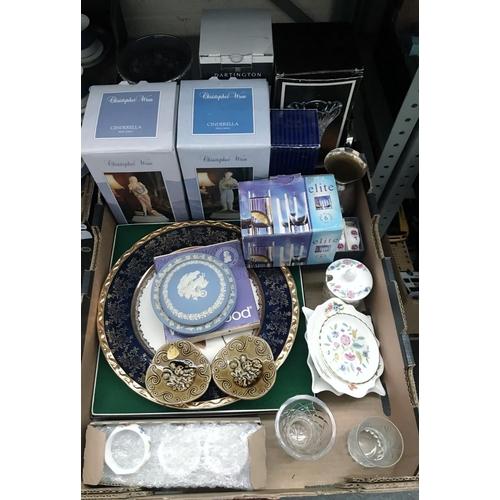 16 - Box containing Dartington glass, Wedgwood and Aynsley plates etc