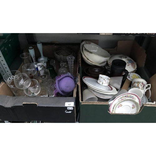 17 - 2 Boxes containing vintage China and glassware
