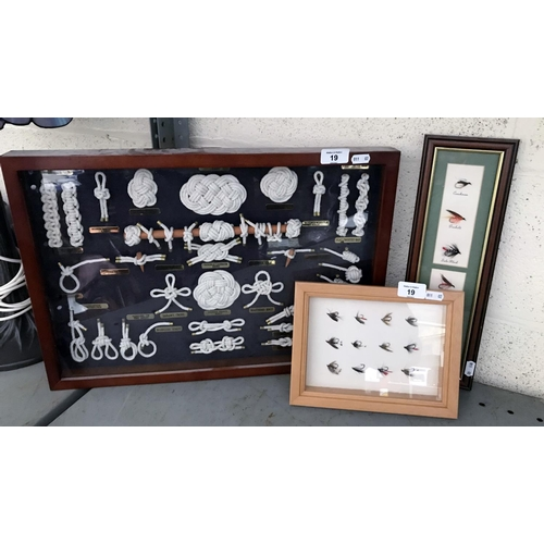 19 - 2 Framed fishing lure sets and a framed set of fishing knots