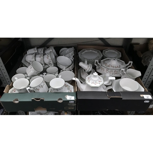27 - 2 Boxes containing a large collection of Johnson Brothers Eternal Beau China...