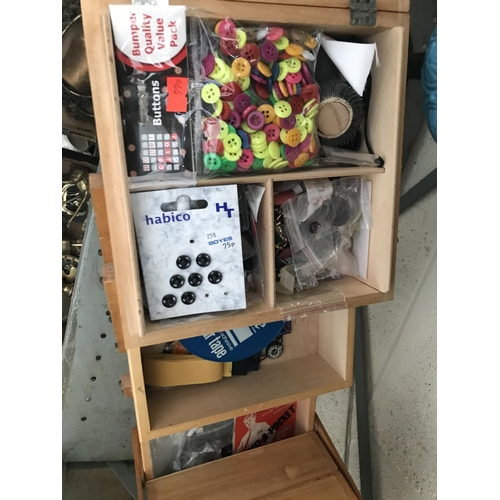 30 - Cantilever sewing box and contents