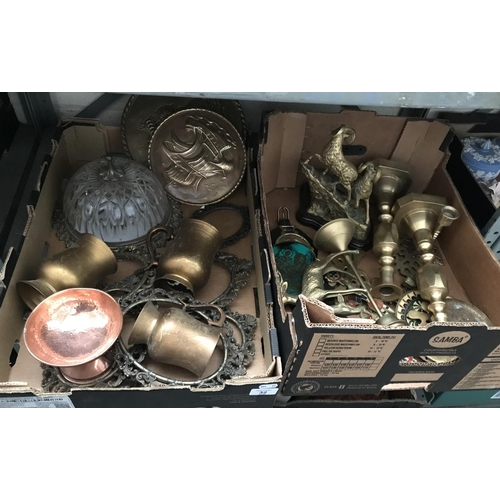 32 - 2 Boxes containing brass ornaments and candlesticks etc