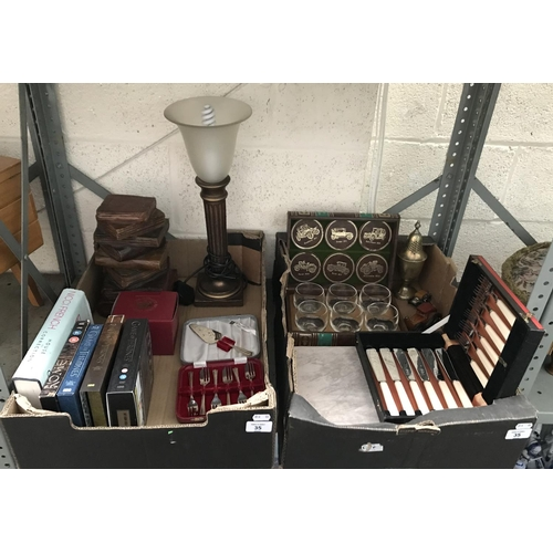 35 - 2 Boxes containing canteens of cutlery and a whisky glass set etc