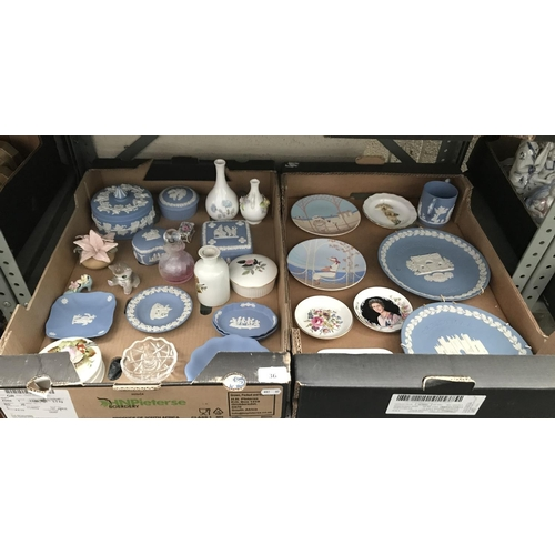 36 - 2 Boxes containing Wedgwood, Caithness and a Coalport bud vase etc...