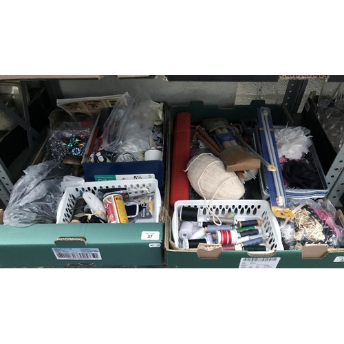 37 - 2 Boxes containing thread and knitting equipment etc...