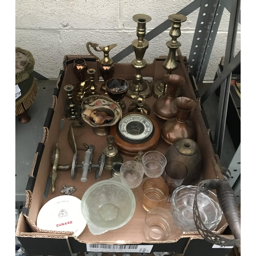 41 - Box containing brass candlesticks and a barometer etc...