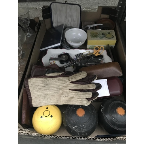 43 - 2 Boxes containing bowls, curios and vintage glassware...