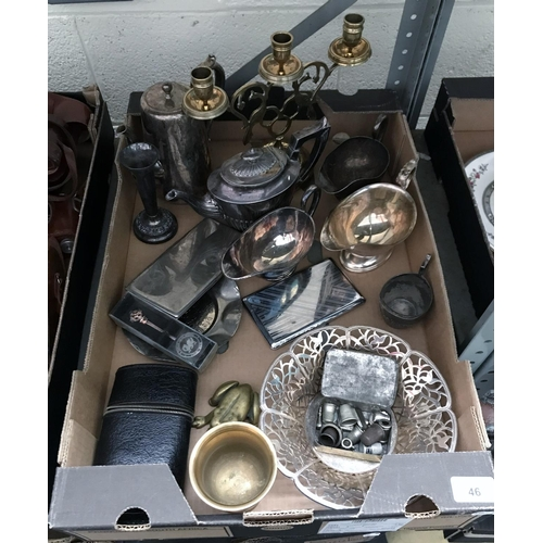 46 - Box containing plated ware including a tea and coffee pot...