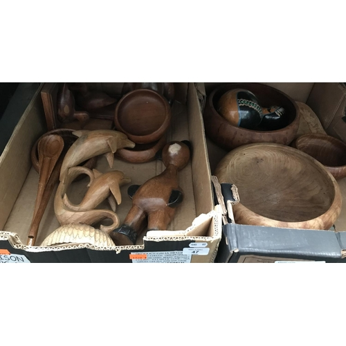 47 - 2 Boxes containing of treen and wooden ornaments...