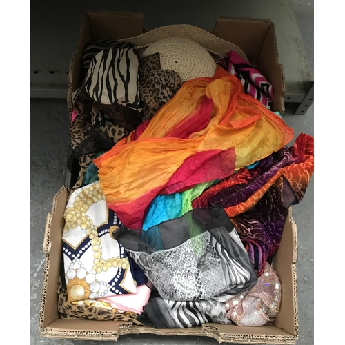 55 - Box containing silk scarves etc...