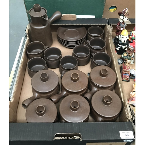 56 - Box containing brown ceramic table ware