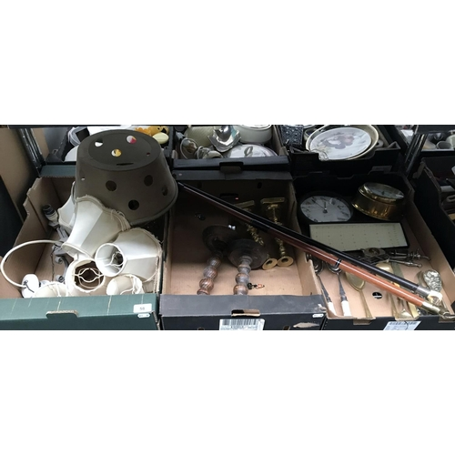 58 - 3 Boxes containing walking sticks, plated cutlery and a brass clock etc...