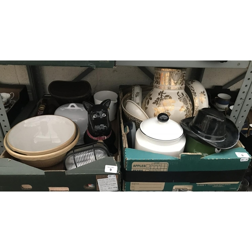 9 - 2 Boxes containing character biscuit jars and ceramic mixing bowls etc