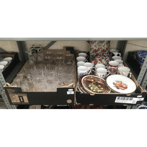 17 - 2 Boxes containing vintage cut glass and Royal memorabilia mugs etc