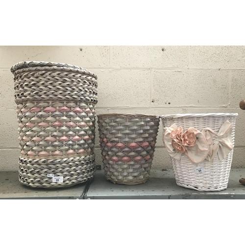 20 - 3 Ornate wicker bins