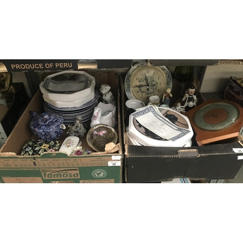 30 - 2 Boxes containing Royal Doulton plates and a mantle clock etc