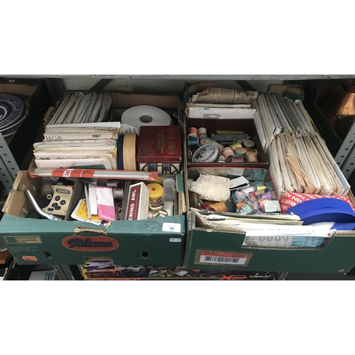 36 - 2 Boxes containing knitting equipment and cotton thread etc