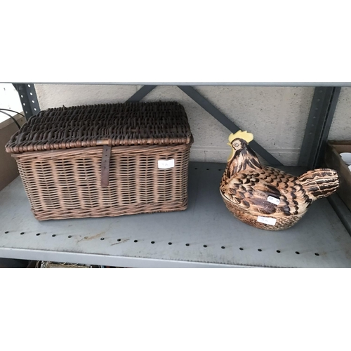 3A - Wicker basket and a ceramic chicken egg basket