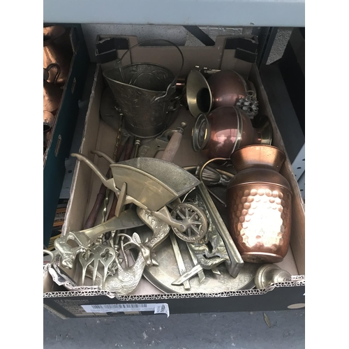 43 - Box containing brass ornaments etc