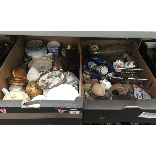 49 - 2 Boxes containing China including Royal Worcester egg coddlers