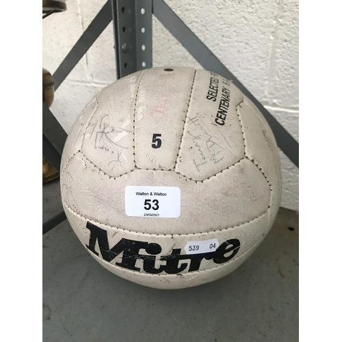 53 - Football signed by Liverpool FC players including Kenny Dalglish
