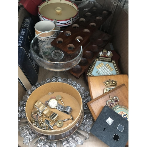 52 - 2 Boxes containing ornaments, watches and Royal Albert China etc