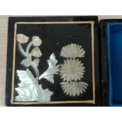 38 - 3 trinket boxes to include a carved inlaid shell example of mother of pearl...