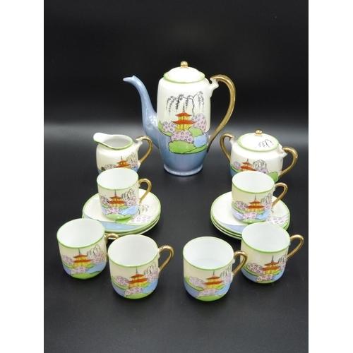 13 - Japanese Klimax Hand Painted Coffee Set...