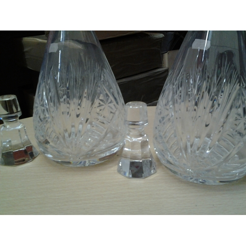 8 - Stunning Pair of Crystal Decanters with original Stoppers Perfect Condition...