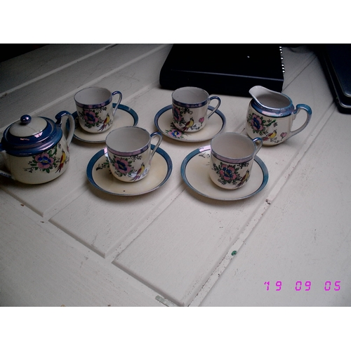 29 - SMALL 10PCE ORIENTAL TEA SET, SUGAR WITH HAIRLINE TO LID...