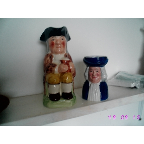 43 - TWO WOOD & SONS CHARCTER JUGS RALPH ENOCH & TOBY PHILPOT...