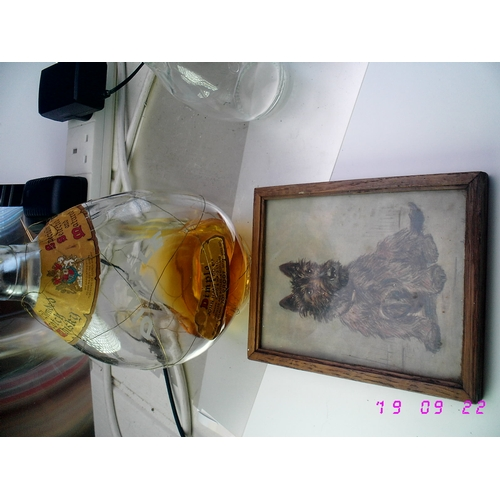 44 - THREE SCOTTISH VINTAGE COLLECTABLES INCLUDING DIMPLE EMPTY WHISKY BOTTLE, FRAMED OAK SCOTTIE DOG PIC...