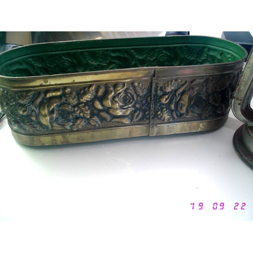53 - CRACKING BRASS LONG PLANTER AND VINTAGE TILLY LAMP...