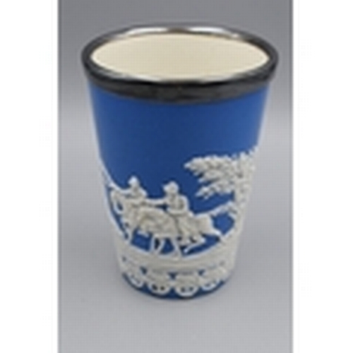 12 - VINTAGE Copeland Blue Jasperware Cup Decorated with Hunting Scene With Plated Rim (12)...