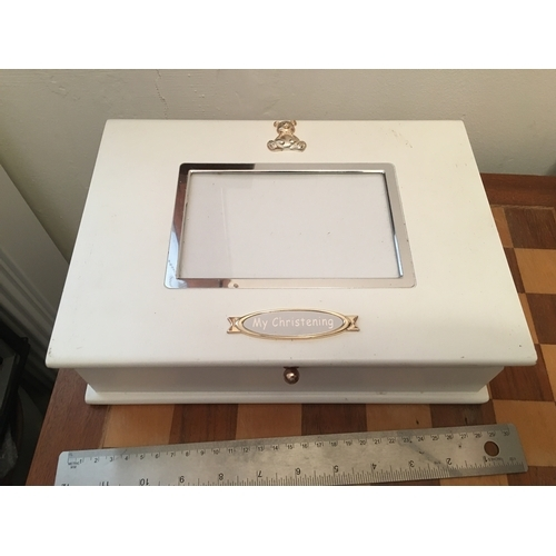 26 - LARGE CHILDS CHRISTENING BOX WITH CROSS TOKEN INSIDE...