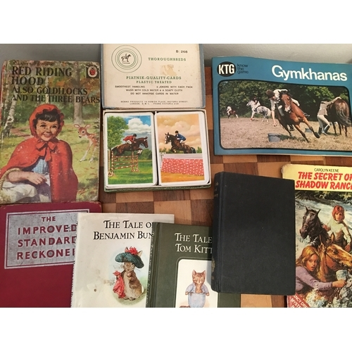 34 - NICE COLLECTORS LOT OF PLATNEK HORSE PLAYING CARDS AND COLLECTABLE BOOKS