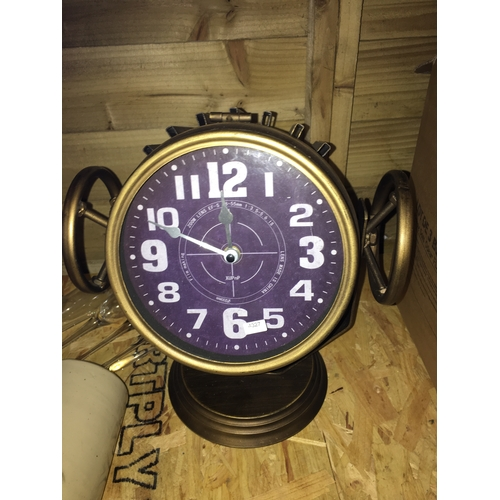 38 - VERY UNUSUAL MOVABLE SHIP STYLE SPOTLIGHT CLOCK WITH STORAGE...
