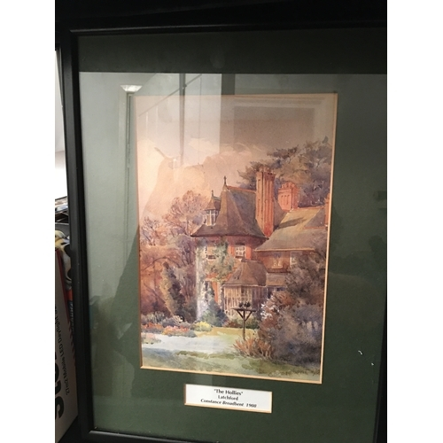 50 - LOVELY FRAMED SIGNED PRINT OF THE HOLLIES LATCHFORD BY  CONSTANCE BROADBENT 1908...