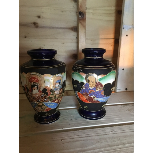 29 - LOVELY Matching pair of oriental IMARI blue ground vases  (20cm) Tall...