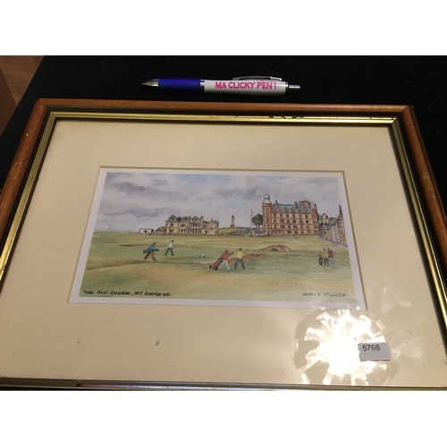 37 - CRACKING FRAMED & GLAZED  'THE OLD COURSE, ST ANDREWS' SIGNED WATERCOLOUR by Harry F Mcgregor...