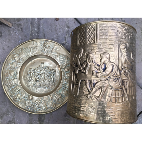 6 - CRACKING BRASS BIN WITHTAVERN SCENE AND EARLY BRASS CHARGER WITH CHERUBS AND WINE SCENE...
