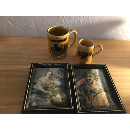 34 - LOVELY COLLECTORS LOT OF TWO MATERIAL/SILK MINITURE PICTURES AND TWO VINTAGE CAR THEMED TANKARDS