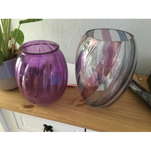48 - TWO VINTAGE GLASS VASSES ONE SLIGHT NICK TO RIM  59