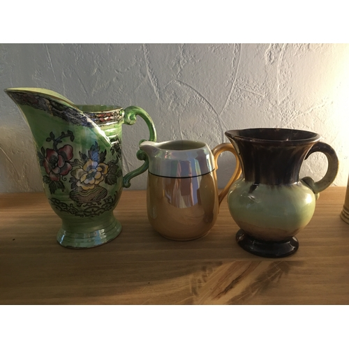 47 - LOVELY SELECTION OF THREE COLLECTABLE JUGS INCLUDING ARTHUR WOOD LUSTRE, GERMAN ETC