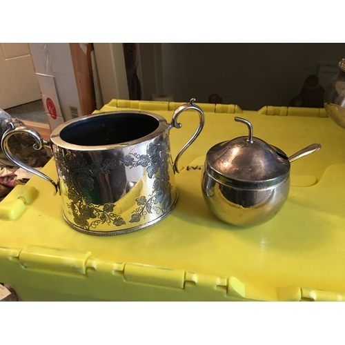29 - TWO HANDLED PLATED BOWL AND AN APPLE SAUCE LIDDED POT