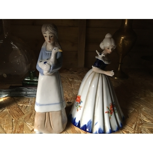 32 - TWO LADY FIGURINES