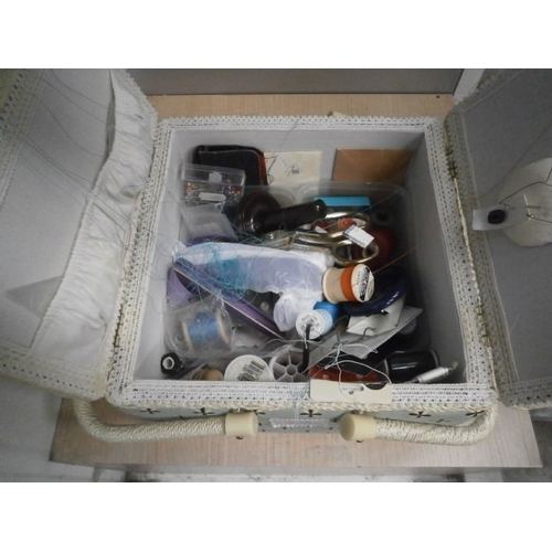 53 - VINTAGE SEWING BOX WITH CONTENTS
