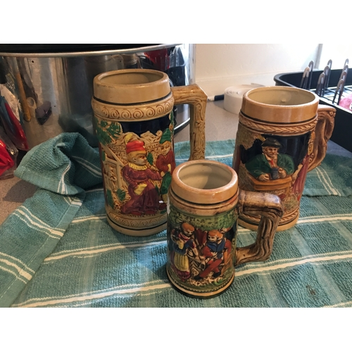52 - COLLECTION OF THREE BEER STEINS