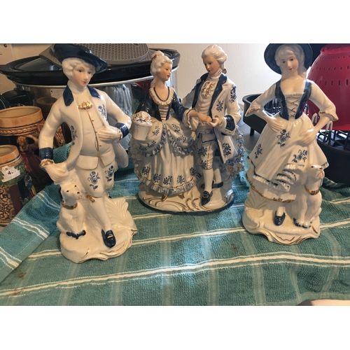 58 - COLLECTION OF PORCELAIN VICTORIAN STYLE FIGURINES