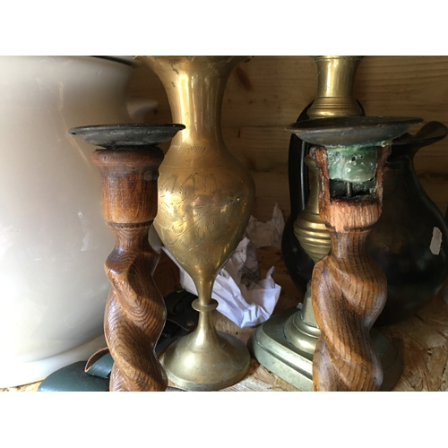 33 - VERY EARLY PAIR OF BARLEY TWIST CANDLESTICKS  (some damage to the top as in pic